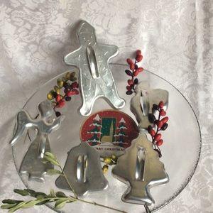 Vintage Aluminum Christmas Cookie Cutters Set EUC